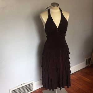BCBG Maxazria Brown Ruffle Tiered Halter Dress, M